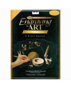 """Royal Brush Foil Engraving Art Blank Boards 5""""X7"""" 6/Pkg-Gold"""