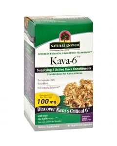 Nature's Answer Kava 6 Capsules - Gluten Free - 90 Vegetarian Capsules