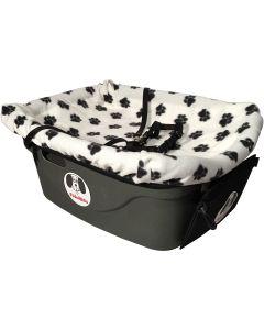 "Fido Pet Products FidoRido Pet Car Seat 24""x18""X10""-White/Black Paw Prints"