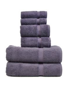 Bare Cotton Luxury Hotel & Spa Towel 100% Genuine Turkish Cotton 6 Piece Towel Set -Plum- Dobby Border