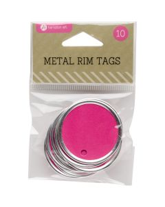"""Hampton Art Metal Rim Tags 10/Pkg-1.5"""", Magenta"""