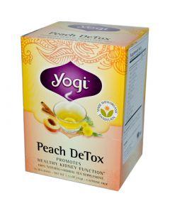 Yogi Detox Herbal Tea Caffeine Free Peach - 16 Tea Bags - Case of 6