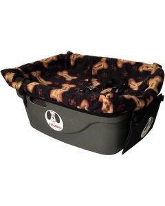 "Fido Pet Products FidoRido Pet Car Seat 24""x18""X10""-Black/Tan Bones"