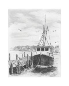 "Royal Brush Sketching Made Easy Kit 9""X12""-Fishing Boat"