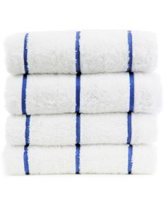 Bare Cotton Luxury Hotel & Spa Towel 100% Genuine Turkish Cotton Pool Beach Towels - Royal Blue - Stripe  - Set of 2