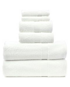 Bare Cotton Luxury Hotel & Spa Towel 100% Genuine Turkish Cotton 6 Piece Towel Set -White- Honeycomb